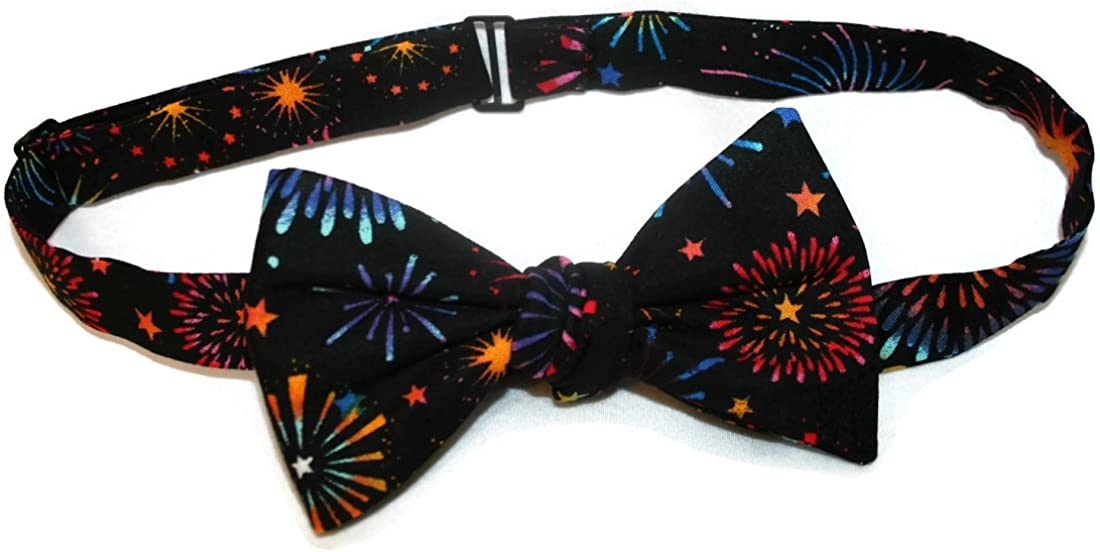 Holiday Bow Ties Mens Self-Tie Bow Tie Black Multi Colored Firework Celebration
