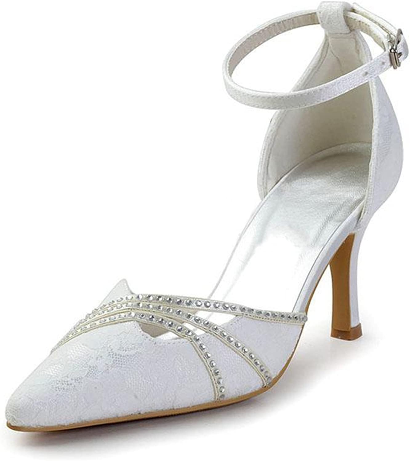 Minishion Girls Womens Ankle Strap Lace Bridal Wedding Party Pumps shoes