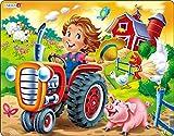 Larsen BM7 En la Granja: Tractor Racing a Cerdo, Puzzle de Marco con 15 Piezas