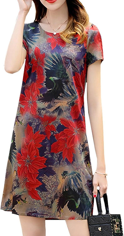 Dissa S9953 Women Vintage Short Sleeve KneeLong Cocktail Plus Size Silk Summer Dress