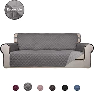 PureFit Reversible Quilted Sofa Cover, Water Resistant Slipcover Furniture Protector, Washable Couch Cover with Non Slip Foam and Elastic Straps for Kids, Dogs, Pets (Sofa, Gray/LightGray)