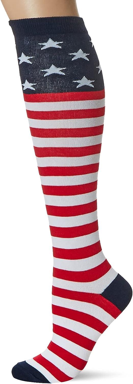K. Bell Women's Be super welcome Novelty Knee High Socks Whit Chicago Mall American Flag Red
