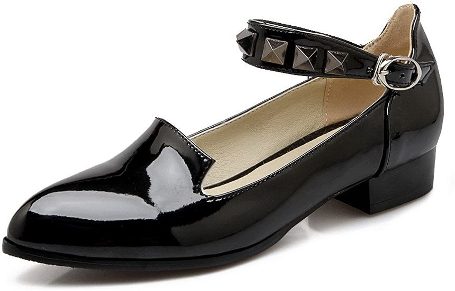AmoonyFashion Women's Low-Heels Solid Buckle Patent Leather Pointed Closed Toe Pumps-shoes