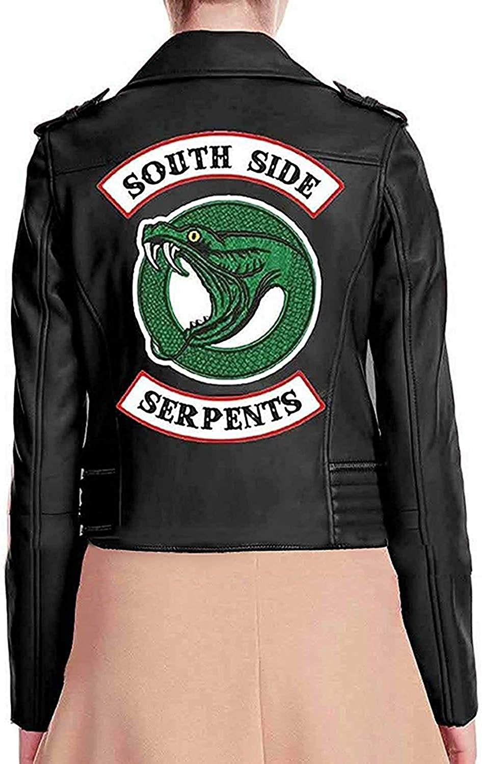 Womens Black Real Leather Jacket with Snake Gang Logo