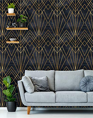 Removable Peel 'n Stick Wallpaper, Self-Adhesive Wall Mural, Geometric Black & Gold Pattern, Watercolor Black Background • Art Deco (Sample 12' x 24')