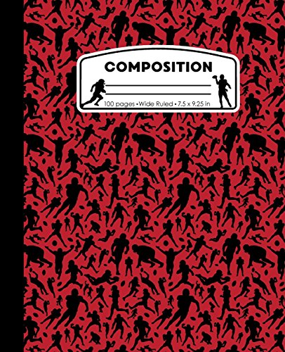 Composition: Football Red Marble Composition Notebook. Sports Fan Book Wide Ruled 7.5 x 9.25 in, 100 pages journal for girls boys, kids, elementary school students and teachers