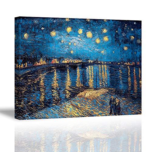 Piy Painting Stampe su Canvas, Riproduzione della Notte Stellata sul Rodano Immagine - Famoso Quadro su Tela con Cornice Moderni Murale Fotografia para Sala Regalo di Anniversario Natale 30x40cm