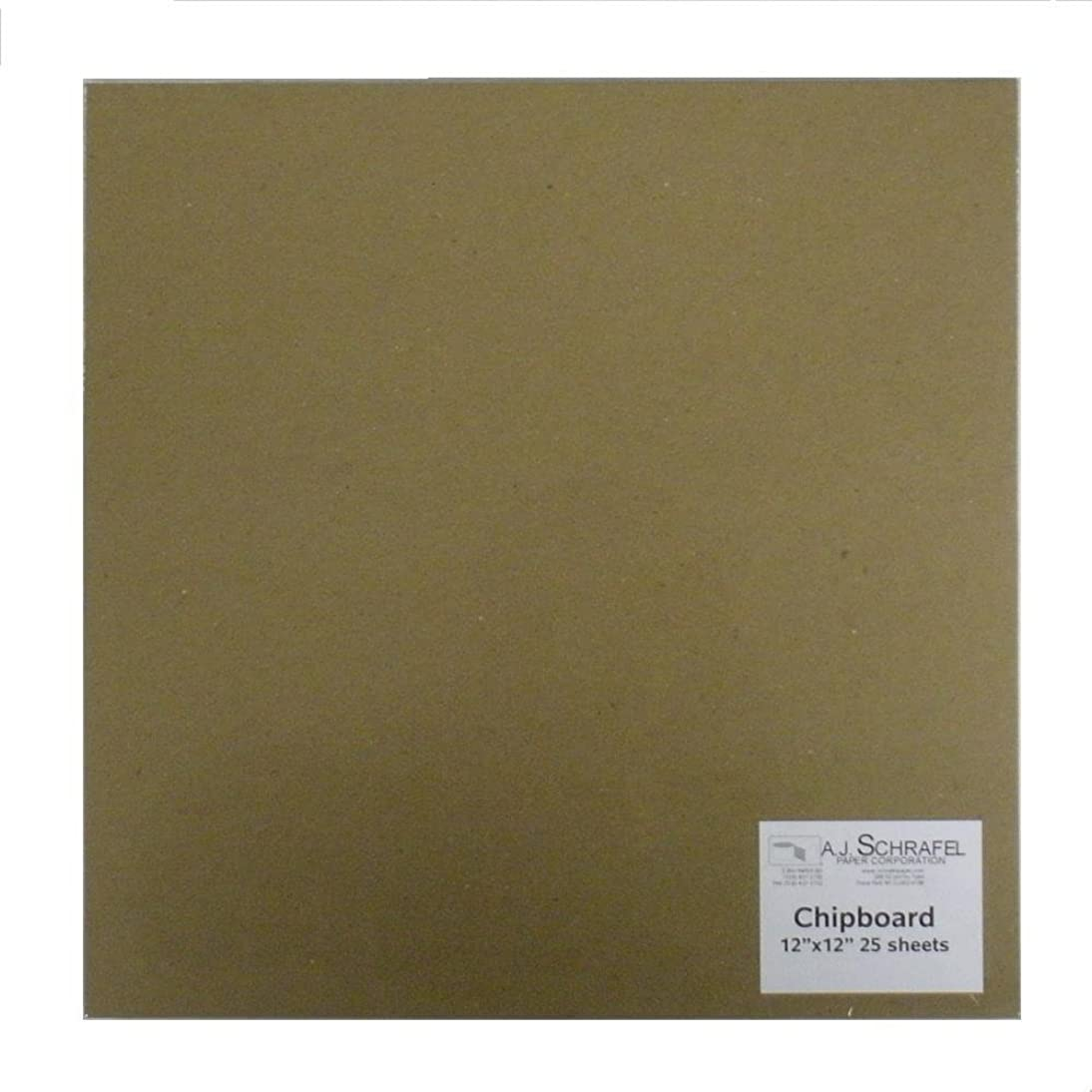 SPC Light Chipboard Sheets 12 x 12 Inches, 25 per Package (Tan-Chip-12-12)