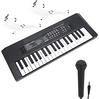 Teclado Electrónico portátil con 37 teclas Iluminadas Teclado de Piano Juguetes Musicales Educativos Grabación de Micrófono Educación Temprana Instrumento Musical Carga USB/Batería