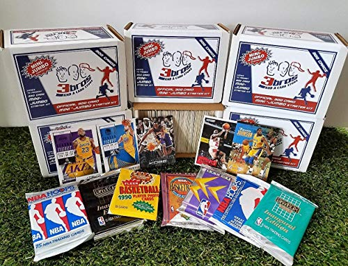 Limited Edition 300 card MINI-JUMBO lot of Basketball cards + 2 Vintage Unopened Wax Packs Starter Kit. Comes in Custom Souvenir Box- Great gift for the 1st TIME COLLECTORS! OVER 10,300 SOLD by 3bros