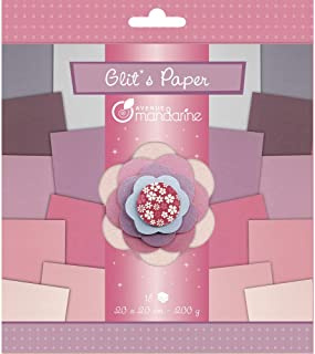 Avenue Mandarine 52683O - Un paquet de 18 feuilles pailletées 20x20 cm 200g, Violet et rose