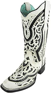 Corral Boots Black Sequin Inlay Studded Rustic White Cowgirl Boot - E1511 (7.5 B(M) US)