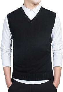 VERYCO Men's Knitted Tank Top Sweater Vest Plain Sleeveless V Neck Jumper Knitwear