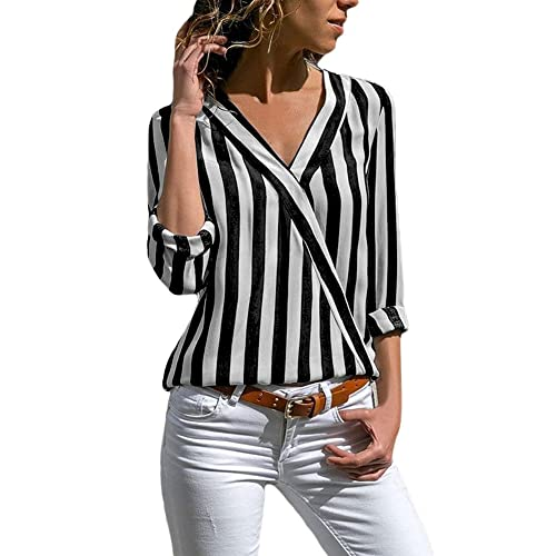 d831a24069a858 HOTAPEI Womens Casual V Neck Striped Chiffon Blouses Long Sleeve Button  Down Shirts Tops with Front