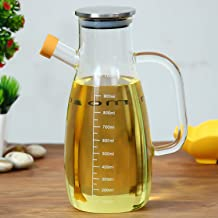 Femora Borosilicate Oil Dispenser & Stoppers Bottle with Handle, 1 L