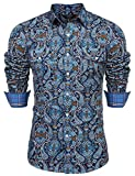 COOFANDY Men's Floral Dress Shirt Slim Fit Casual Paisley Printed Shirt Long Sleeve Button Down Shirts (Blue, Large)