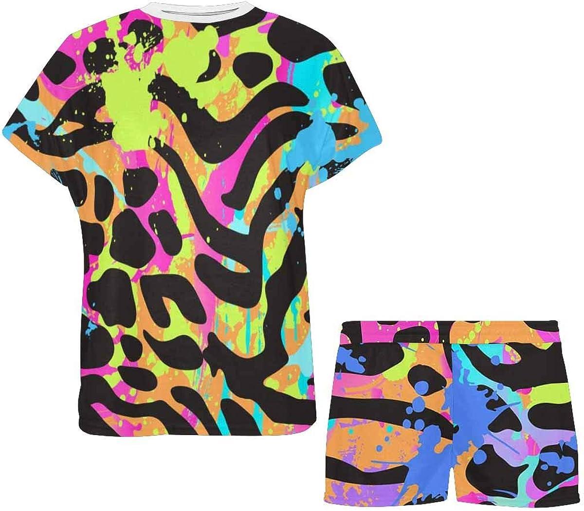 INTERESTPRINT Animal Skin Pattern Women's Lightweight Pajama Set, Short Summer Pjs