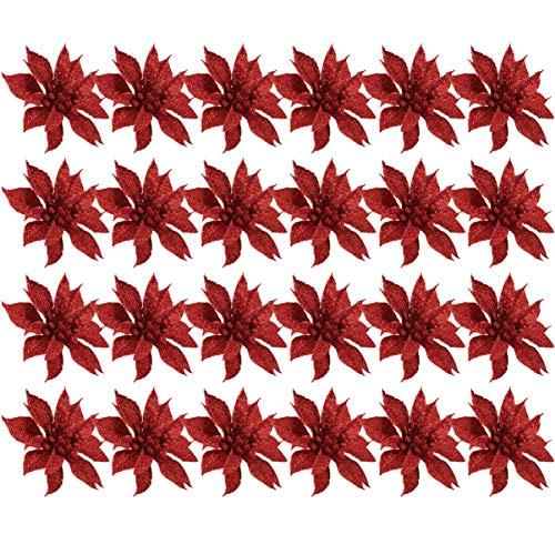 jojofuny 24Pcs Glitter Poinsettia Addobbi per Albero di Natale 10Cm Poinsettia Fiori Artificiali Fiori a Doppio Strato Decorazione Ghirlanda di Natale (Rosso)
