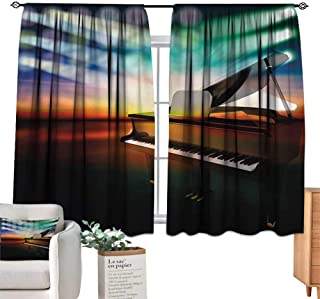 Musical Theatre Decor Curtains Grand Piano Stage Set of Two Panels 55