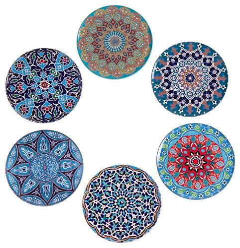 BABEL ARTESANIA Set di 6 sottobicchieri decorativi originali per caffè, cucina, bevanda, boccale, vino, tazze, bicchieri, vetro - per tavolo in legno (Oriente)
