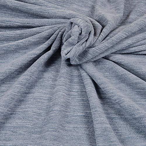 Qualitativ hochwertiger Fleece Stoff von Hilco in Blau-Grau Melange als Meterware zum Nähen von Kinder- und Erwachsenenbekleidung, 50 cm