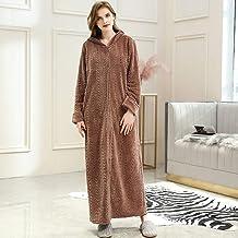 Dames Badjas,Winter Plus Size Long Warm Flanel Badjas Gezellig Capuchon Bad Robe Rits Nachtwand dames Slaapkleding, Vrouwe...