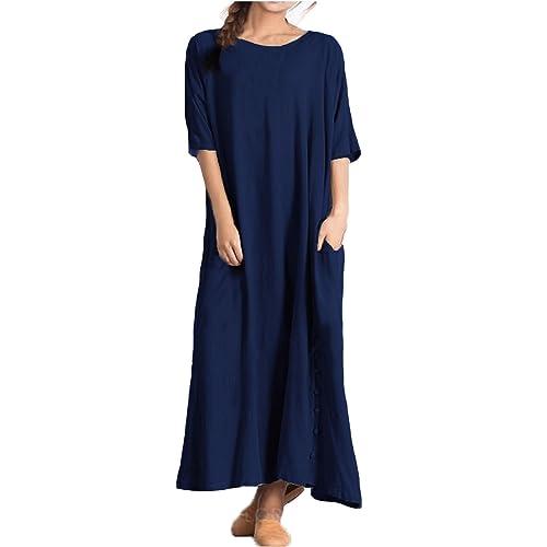 cb12f29481ff Kidsform Women Cotton Linen Maxi Dress Vintage Loose Long Sleeve Kaftan  Solid Plain Dresses