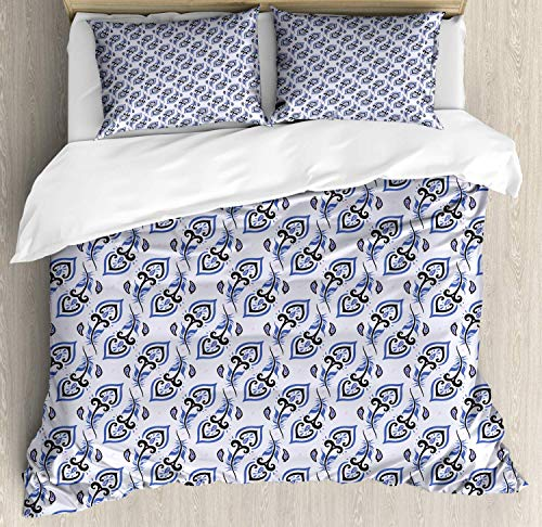 Peacock Double Bedding Duvet Cover 3 Piece, Abstract Repetition Feather Inspired Paisley, Soft Bedding Protects with 1 Comforter Cover 2 Pillowcase, Pastel Purple Violet Blue Charcoal Grey Baby Pink