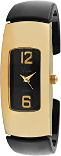 Viva 14k Gold Plated Black Acrylic Bangle Fashion Watch V1144BK