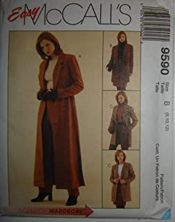 Easy McCall's Sewing Pattern 9590, Size B (8,10,12) Misses' Lined Duster or Jacket, Pants, Skirt