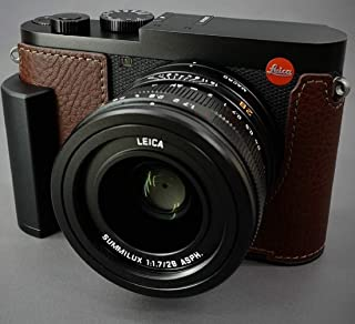 New LIM'S Genuine Italy Leather Camera Half Case Metal Grip Dovetail Plate for Leica Q2 (Typ 4889) Brown