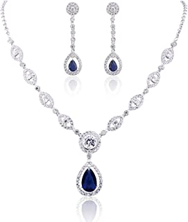 AAA Cubic Zirconia CZ Silver Plated Base Women's Party Jewelry Set Earrings Pendant Necklace