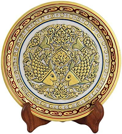 Handicrafts Paradise Decorative Genuine Plate in Choice Fishes Marble with Pain