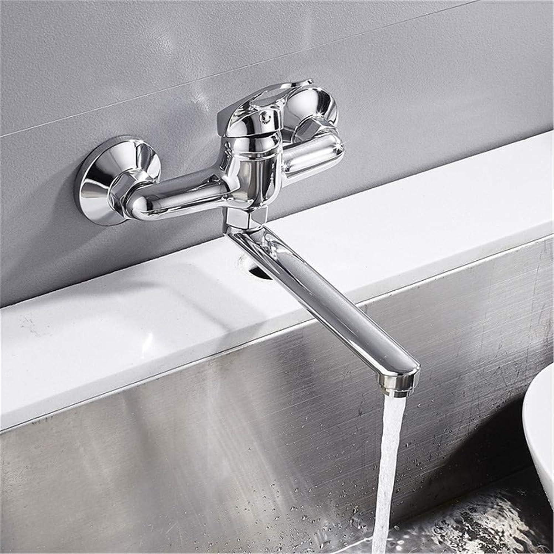 Wasserhahn Küche Waschbecken Badezimmer Wandmontage Küchenarmatur verlngert Kupfer drehen Einhand-Becken Wasserhahn hei kaltes Wasser