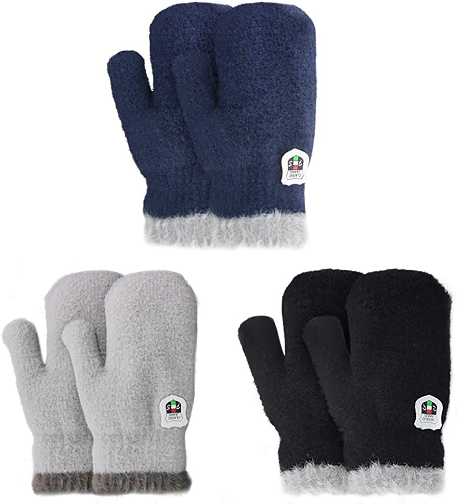 3 Pairs Winter Mitten Gloves for Baby Boys Girls Warm Fleece Lined Mittens Toddler Children Warm Thick Knit Gloves with String