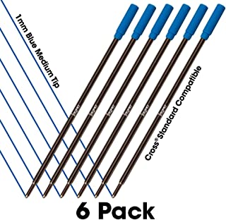 6 - Blue Cross Compatible Ballpoint Pen Refills. Smooth Writing German Ink and 1mm Medium Tip. #8511