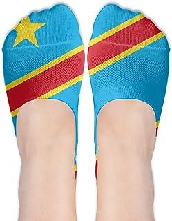 PengYou Flag Of The DR Congo Women Casual No-Show Socks Of Hidden Flat Boat Line,Low Cut Thin Sock
