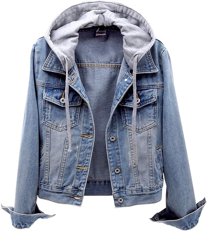 Kcocoo Women's Casual Hoodie Denim Jacket Long Sleeve Basic Button Down Jean Jacket Warm Sweatshirt Coat Jacket with Pockets