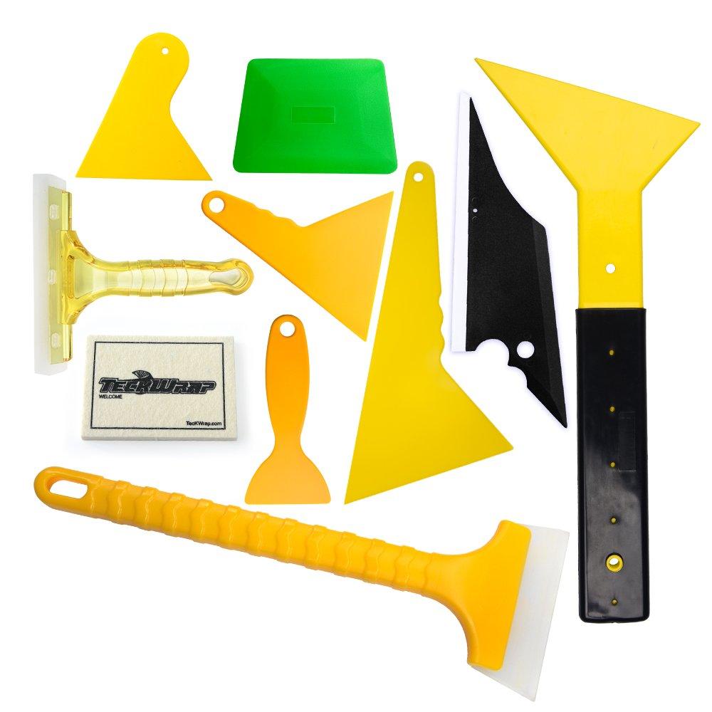 Winjun Auto Window Tinting Kits Windshield Water Wiper Mini Squeegee Plastic Razor Scraper Felt Squeegee with 10 pcs Replacement Felt
