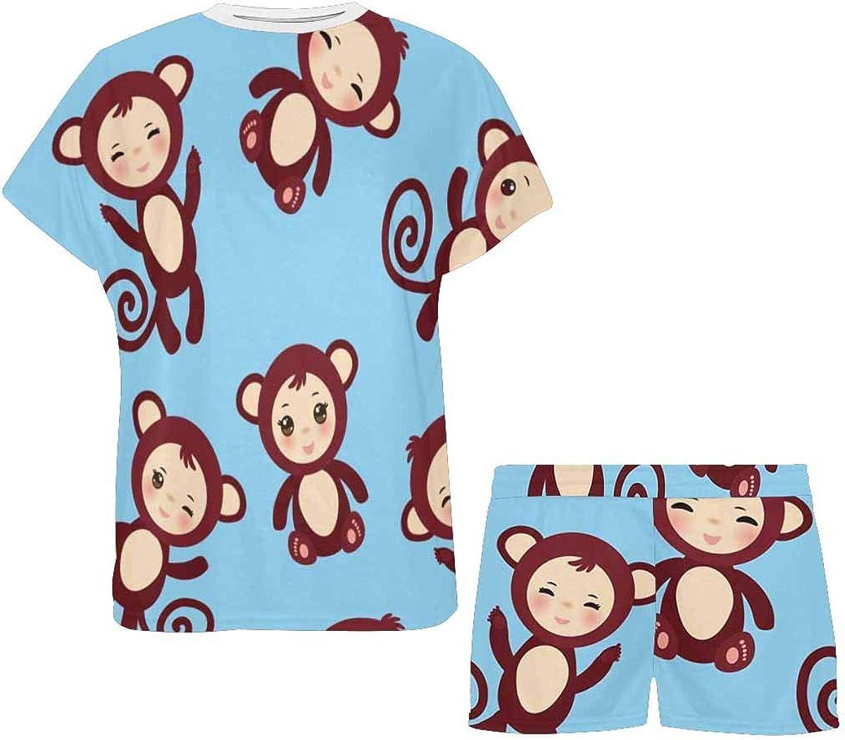 InterestPrint Monkey Blue Backgorund Women's Pajama Sets Short Sleeve Shorts - Pajamas for Women