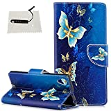 TOCASO Sony Xperia XA1 Plus Hülle, Leder Schwarz Flip Wallet Hülle Blume Kartensteckplätze Schutzhülle HandyHülle Sony Xperia XA1 Plus Tasche Standfunktion Magnetverschluß - (Goldener Schmetterling)