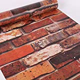 Woltop 3D Brick Wallpaper Peel and Stick Red - 17.7 x 393 inches 3D Removable, Decorative Faux Brick Wallpapers for Wall Décor