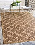 Unique Loom Outdoor Trellis Collection Geometric Border Transitional Indoor and Outdoor Flatweave Light Brown/Cream Area Rug (8' 0 x 11' 4)