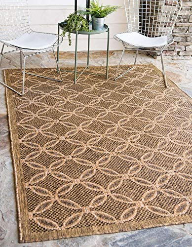 Unique Loom Trellis Collection Geometric Border Transitional Indoor and Outdoor Flatweave Area Rug, 5  3  x 8 , Light Brown Brown