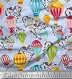 Soimoi Blau Poly Krepp Stoff Herz & Heißluftballon Urlaub
