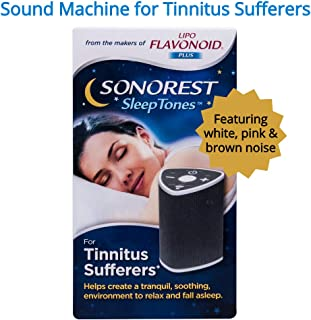 Sonorest Sleep Tones | Sound Machine for Tinnitus Sufferers | Pink, Brown and White Noise | Creates Relaxing Environment to Mask Ear Ringing | Portable for Convenient Use