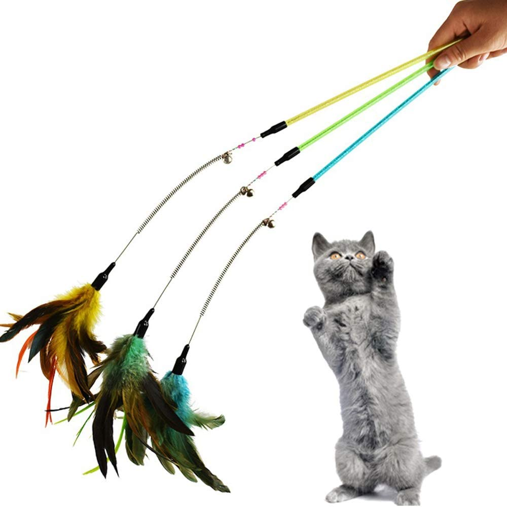 Fort Worth Mall CatYou 3-Pack Cat Feather Toy with Beads and Superlatite Bells 23