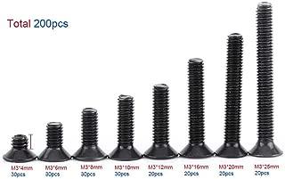 Paquete de 200 piezas M3 10.9 Grado Avellanado Cabeza plana Hexagonal Tornillos Tornillos Pernos para Kit de surtido de sujetadores de máquina, 4-25MM
