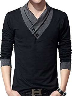 AITFINEISM Mens Casual V-Neck Button Slim Tee Cotton Long Sleeve T- Shirts