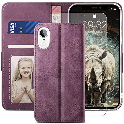 YATWIN Handyhülle Kompatibel mit iPhone XR Hülle +1 Stück Panzerglas Schutzfolie, Klapphülle Premium Leder Brieftasche Schutzhülle [Kartenfach][Magnet][Stand] Handytasche für iPhone XR Case, Weinrot